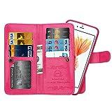 BRG [WRISTLET] [9 CARD HOLDER] [MAGNETIC DETACHABLE] PU Leather Folio Flip Credit Card Slots Cash Holder Wrist Strap for iPhone 6 6s Plus, Rose