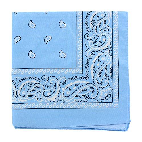 12PCS 100% Cotton Classic Paisley Bandana Head Wrap Scarf Handkerchief (Baby Blue) -