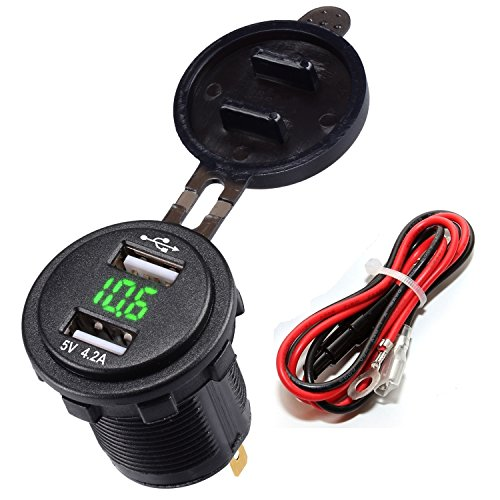 LaoDa Dual USB Charger Socket Waterproof Power Outlet 2.1A & 2.1A with Voltmeter & Wire In-line 10A Fuse for 12-24V Car Boat Marine Motorcycle - Green