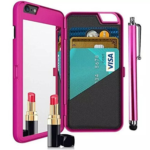 iPhone 7 Plus Case,Vandot [Hidden Make-up Mirror] Luxury Wallet Case With Credit Card Holder Stand Feature Hard PC Back Cover Protective Skin For Apple iPhone 7 Plus 5.5 inch  Stylus Pen-Hot Pink