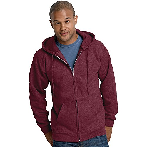(Hanes 10 oz ULTIMATE COTTON Full-Zip Fleece Hood, Maroon,)