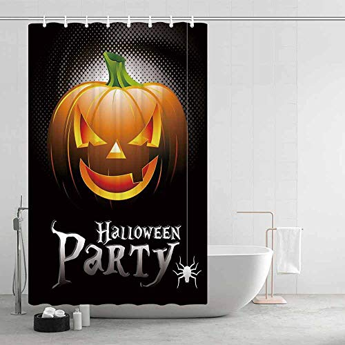 Halloween Waterproof Shower Curtain,Halloween Party Theme Scary Pumpkin on Abstract Modern Backdrop Spider Decorative for Showers Stalls and Bathtubs,47.24