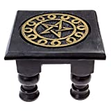 Carved Wooden Pentagram Altar Table - Painted Black