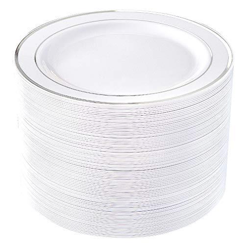 80pcs Plastic Silver Plates, 9