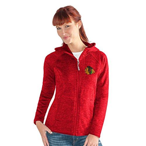 GIII For Her NHL Chicago Blackhawks Women's Kick Off Full Zip Jacket, Medium, Red
