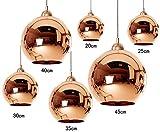 Dst Mordern Copper Glass Mirror Ceiling Chandelier Lights , Kithen Dining Island Pendant Light for Living Room Bedroom Study Room Size, Diamater 35cm (1 pcs)