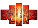 Santin Art -Wood Framed Artwork the Lovers Tree High Q. Wall Decor Landscape Painting on Canvas 5pcs/set Mixorde Picture