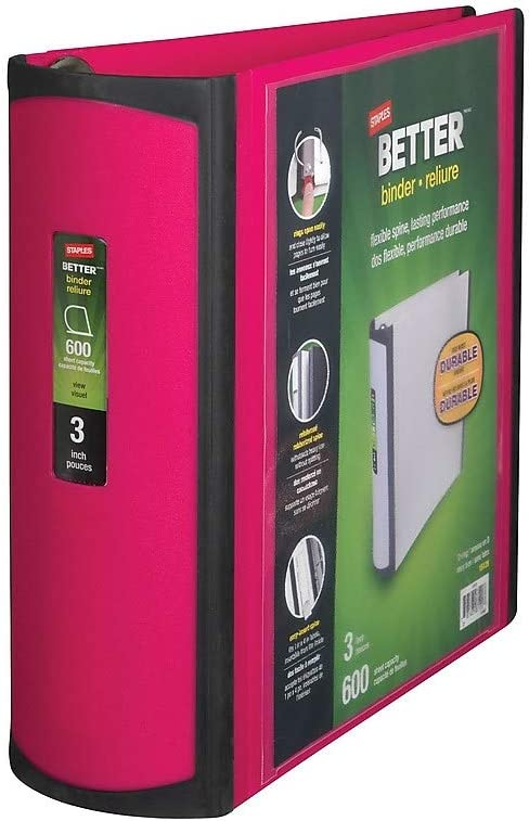 NEW STAPLES DECORATIVE BETTER BINDER 1.5 in 400SHEET CAPACITY. Cats