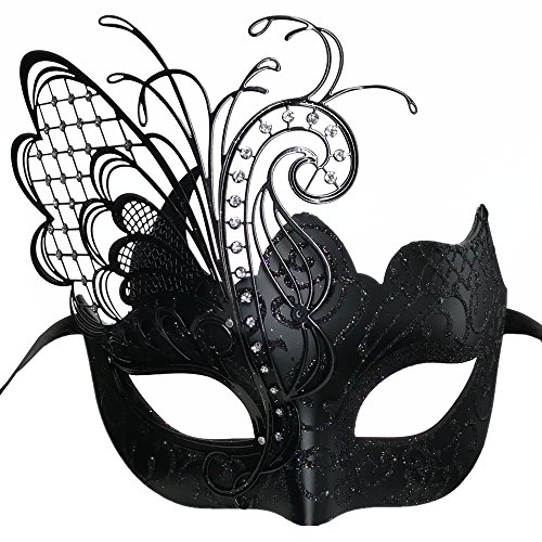 CCUFO Black/Black Butterfly Venetian Women Mask For Masquerade/Party/Ball Prom/Mardi Gras/Wedding/Wall Decoration - Gras Shower Bridal Mardi
