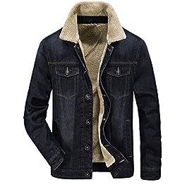 Zicac Men's Fleeced Denim Jacket Winter Fall Warm Cowboy Coat Outerwear Parka