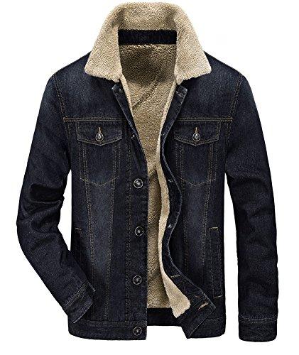 Zicac Men's Fleeced Denim Jacket Winter Fall Warm Cowboy Coat Outerwear Parka (S, Black)