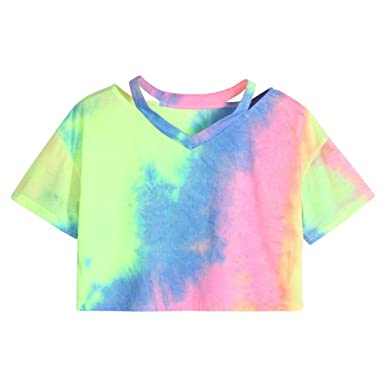 570080919 Women Teen Girls Cute Cutout Shoulder Tie Dye Short Sleeve Crop Tops Tee  Shirts Summer Tops: Clothing