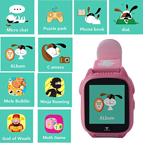 GPS Tracker Watch for Children,Hangang Kids Smartwatch with GPS+LBS,IP68 Waterproof Watch with 9 Games for Boys and Girls Birthday Gifts (Pink)