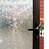 Mikomer 3D Decorative Window Film,Clear Glass Film,Rainbow Effect Door Window Decoration,Static Cling/Vinyl/Heat Control/Anti UV For Kitchen,Dining Room,Bedroom,Living room,17.5In. By 78.7In.