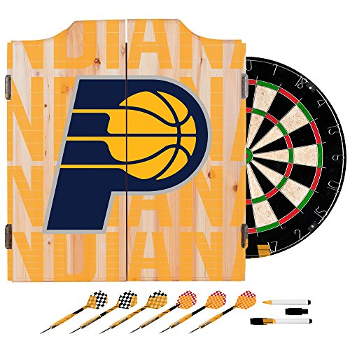 Trademark Gameroom NBA7010-IP3 NBA Dart Cabinet Set with Darts & Board - City - Indiana Pacers by Trademark Global