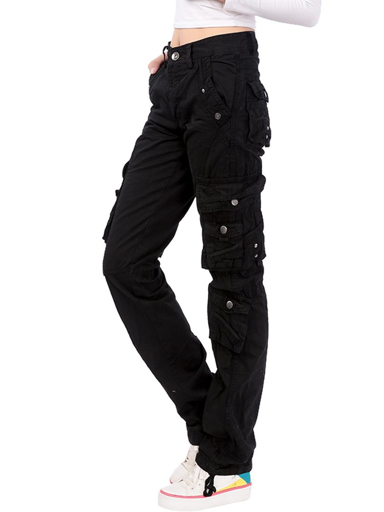 Women's Cotton Casual Straight Leg Cargo Pants with Multiple Pockets Black Tag 29-US 2