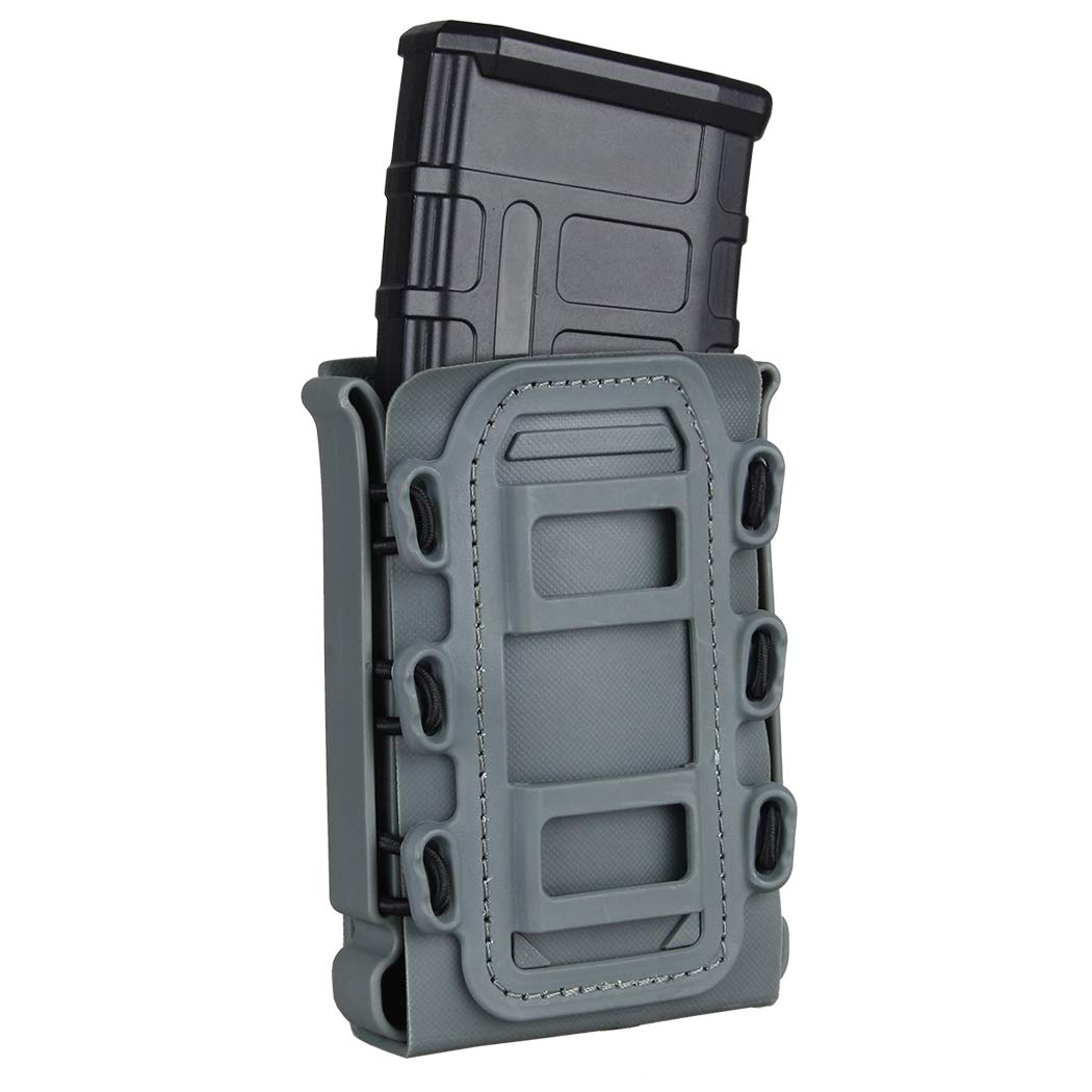 IDOGEAR 5.56mm 7.62mm Tactical Magazine Pouch Airsoft Hunting Shooting Molle Fastmag Soft Shell Mag Carrier Bag (Wolf Gray)