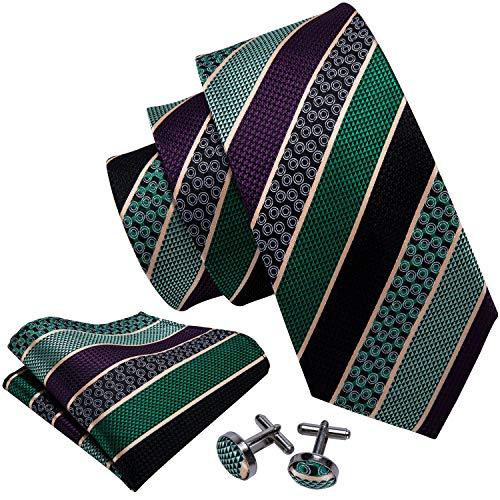 Barry.Wang Formal Men Tie Set Green Stripe Neckties Handkerchief - Mens Necktie Stripes