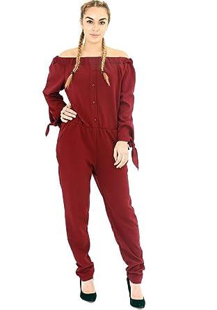 b63e8d461e0b New Women Bardot Off Shoulder Maxi Button Frill Jumpsuit Playsuit Long  Sleeve UK (S M (8-10)