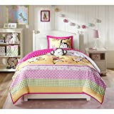 4 Piece Jungle Monkeys Patterned Comforter Set Full/Queen Size, Featuring Dancing Wildlife Monkey Printed Geometric Square Polka Dots Bedding, Forests Nature Animals, Stylish Kids Bedroom, Multicolor