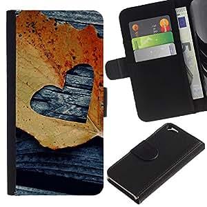 EJOY---La carpeta del tirón la caja de cuero de alta calidad de la PU Caso protector / Apple Iphone 6 / --Hoja Otoño Negro Amor deeo