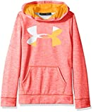 Under Armour Girls' Armour Fleece Big Logo Novelty Hoodie,Marathon Red /Orange Peel, Youth X-Small