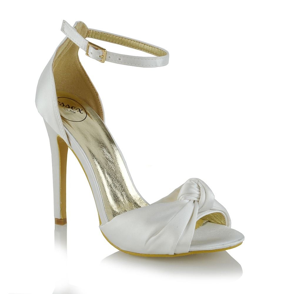 ESSEX GLAM Womens High Heel Ankle Strap Bridal Ivory Satin Peep Toe Shoes 9 B(M) US