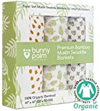 Bunny Palm Swaddle Blanket Muslin Organic Bamboo for Baby, Set of 3 Swaddles for Boy and Girl, Soft Swaddling Receiving Sleep Blankets, Unisex Infant Toddler Gender Neutral Gift with Green and White