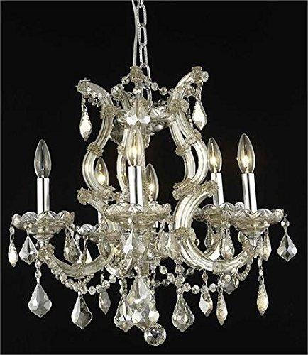 - Karla Golden Teak Traditional 6-Light Hanging Chandelier Heirloom Handcut crystal in Golden Teak -2380D20GT-GT-RC--20