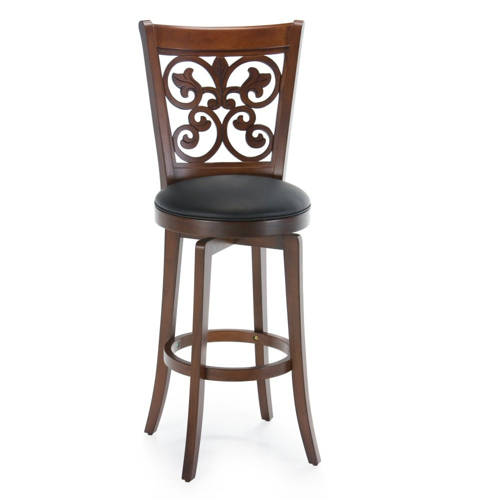 Swivel Bar Stool - Brown Kitchen u0026 Dining  sc 1 st  Amazon.com : wooden bar stool with back - islam-shia.org