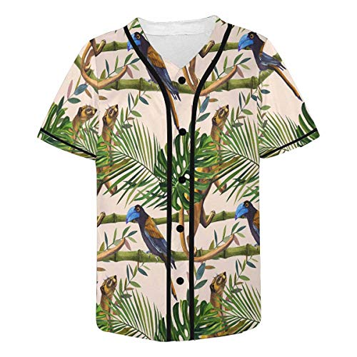 InterestPrint Men's Tropical Wildlife Pattern Night Jungle Nature, Wild Animal, Bird Baseball Jersey Button Down T Shirts Plain Short Sleeve S