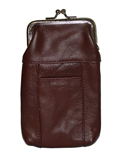 Leather Cigarette Case Pack Holder Regular or 100's Lighter Pocket by Leatherboss (Wine)]()