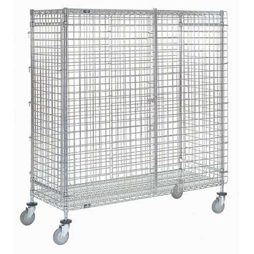 Wire Security Storage Truck with Brakes, 48 x 18 x 69, 1200 Lb. - Wire Storage Truck Security