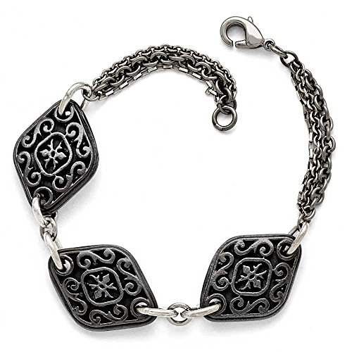 "Ster.sil Ti Titanium Noir poli gravé 3 breloques JewelryWeb 7,75 """