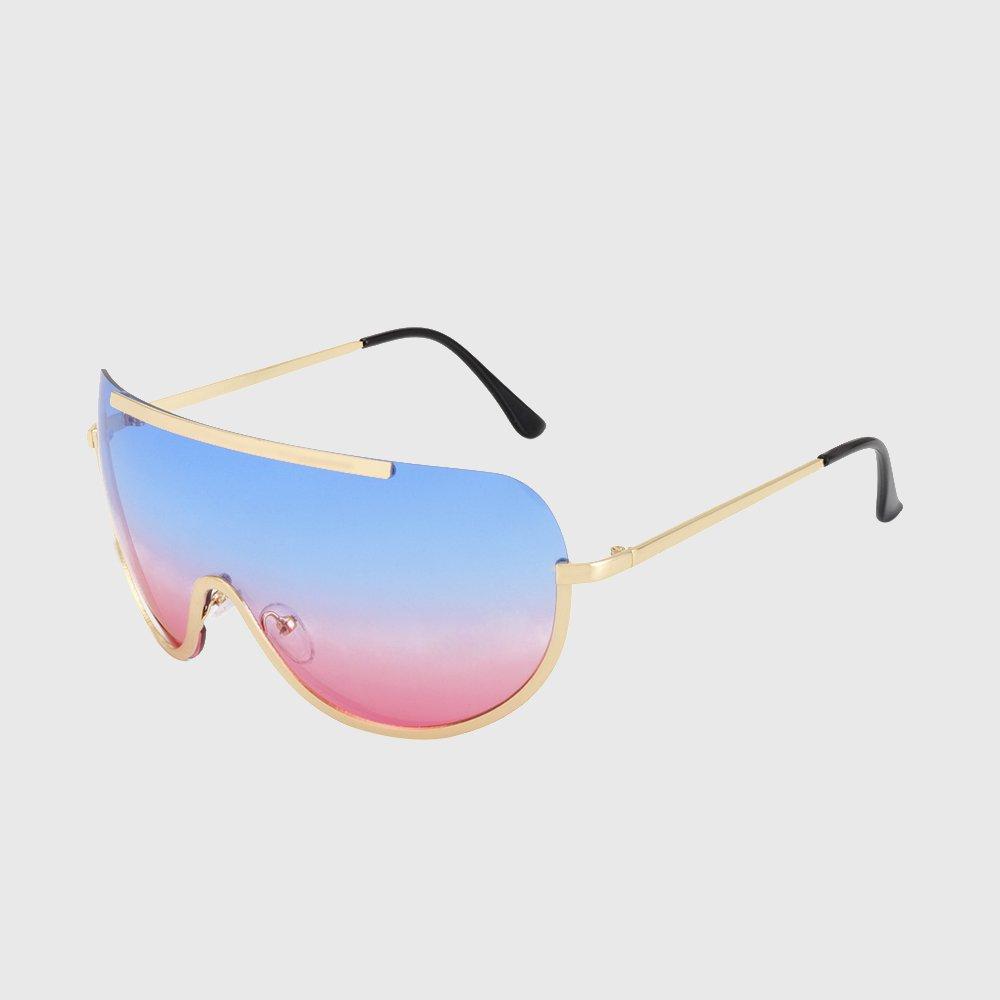 KLXEB Retro Inspiriert Frauen-Sonnenbrille Oversize Schild Metall Halb Rahmen Fahrradzubehör Rahmen Rosa Gelb Leitz, Gold Löschen