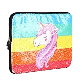 iCasso Glitter 13-13.3 inch Laptop Sleeve Case Bag, Protective Cover Compatible 13'' MacBook Air/MacBook Pro (Retina)/Ultrabook/Netbook, Sparkling Shiny Reversible Sequin Carrying Case - Unicorn
