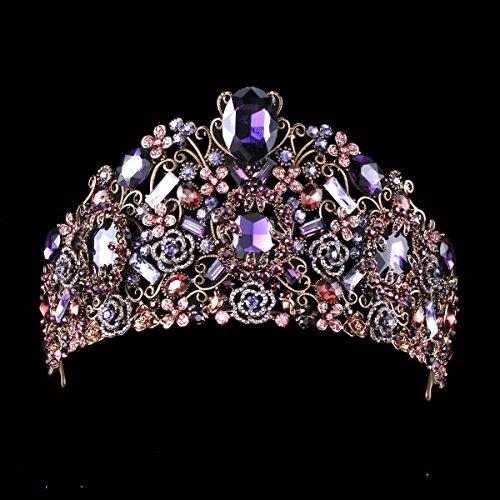 FUMUD Handmade Luxury Black Baroque Style Bridal Purple Crystal Crown Tiara Headpieces Birthday party Hair Accessories (Purple)