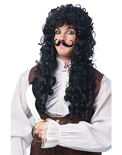 Franco American Novelty Company Captain Hook Wig and Mustache Costume Accessory Set, White, One Size