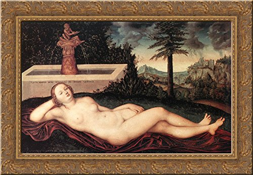 - Reclining River Nymph at the Fountain 24x18 Gold Ornate Wood Framed Canvas Art by Lucas Cranach the Elder