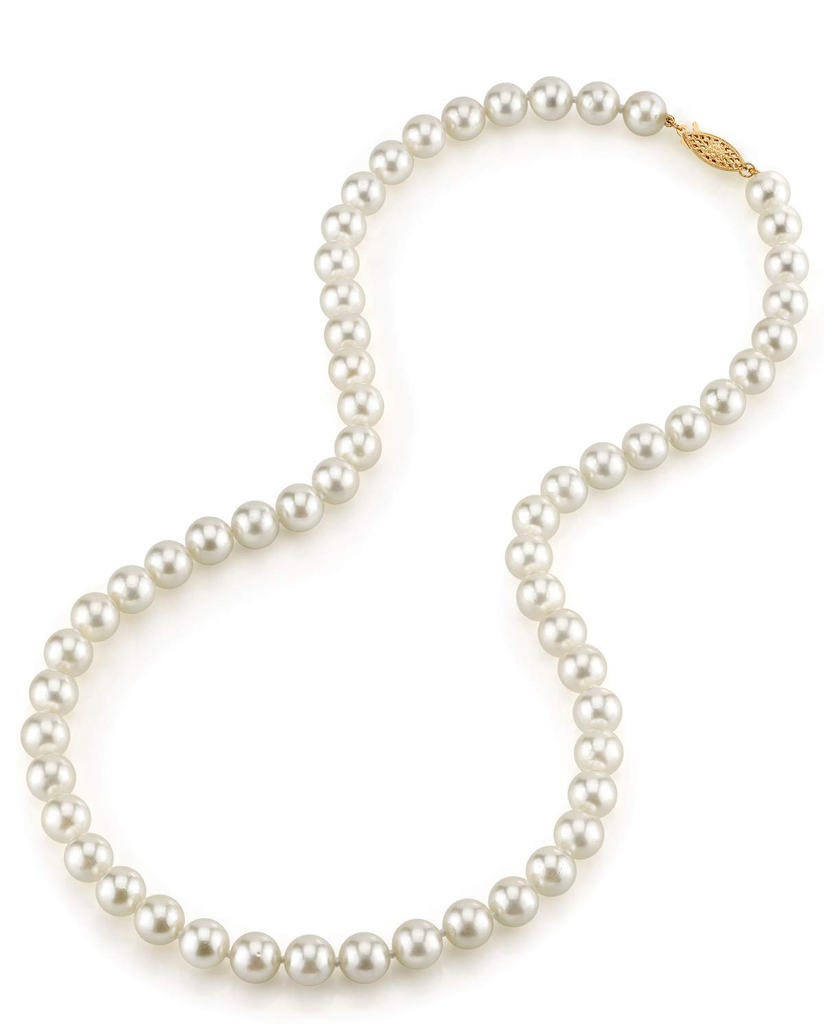 THE PEARL SOURCE 14K Gold 7.0-7.5mm AAA Quality Round Genuine White Japanese Akoya Saltwater Cultured Pearl Necklace in 18'' Princess Length for Women by The Pearl Source