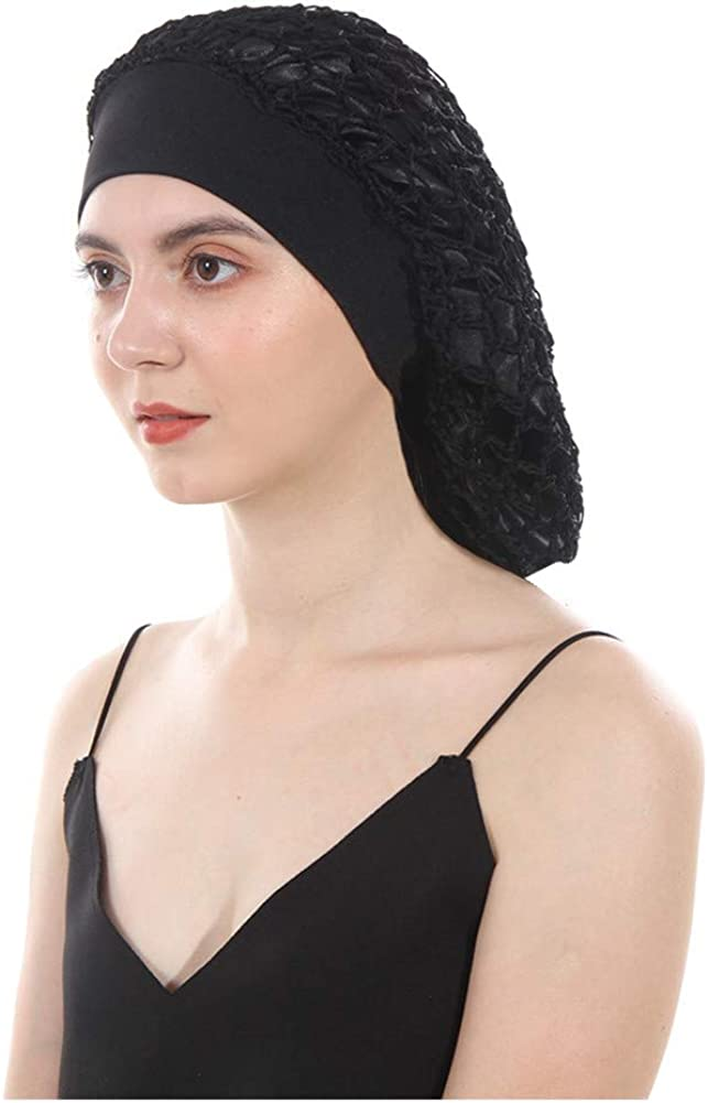 DuoZan Vintage Elastic Wide Band Snood Bonnet Double Layered Hair Net Night Sleep Hat Crocheted Slouchy Beanie