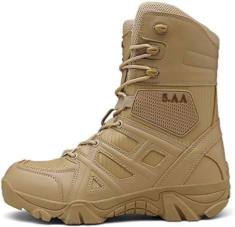 男性のアンチコリジョンタクティカルブーツ、屋外軍事ブーツ男性の全地形ブーツメンズハイキングブーツタクティカルコンバットブーツ通気性の靴,ブラウン,42EU