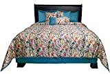 WPM Designer Collection Bedding Set 7 Piece Royal Blue Jungle Forest Bird Print Luxurious Bed in a Bag Queen Size Comforter Includes 1 Comforter, 2 Shams, 1 Bedskirt, 3 Décorative Pillows