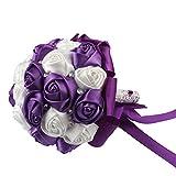 AerWo Purple Silk Rose Wedding Flowers Bouquet Flowers Bridal Bouquets Crystal Rhinestone Wedding Bouquet Supplies