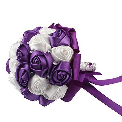 AerWo Purple Silk Rose Wedding Flowers Bouquet Flowers Bridal Bouquets Crystal Rhinestone Wedding Bouquet ()
