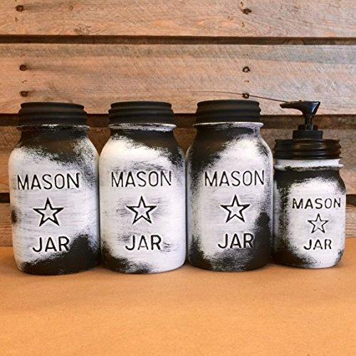 Amazon Com Vintage Mason Jar Canisters Rustic White Mason Star