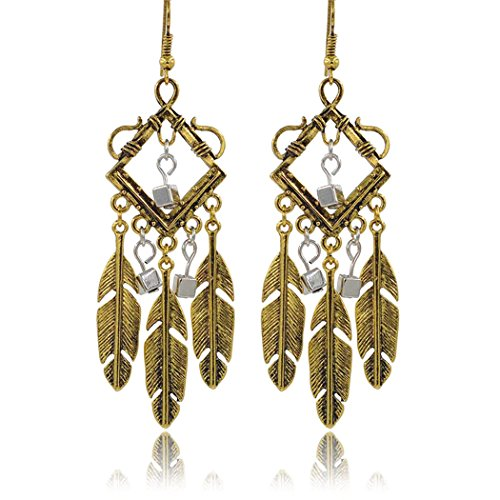 [Real Spark(TM) Women Vintage Feather Drop Diamond With Zircon Tassels Dangle Earrings Retro Golden] (Homemade Hippie Costumes Ideas For Women)