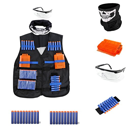 - 4inLoveMe Breathable Tactical Vest Kit for Nerf N-Strike Elite Tactical Vest Kit (1 x Tactical Vest, 1 x Six Dart Quick Reload Clip 20 Elite Darts 1 x safety goggles 1 x Hand Wrist Band 1 x Face Mask)