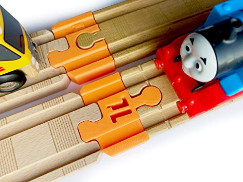 (Thomas Wood 2018 Train Track Adapters to Wooden Railway for BRIO, Melissa & Doug (Orange))