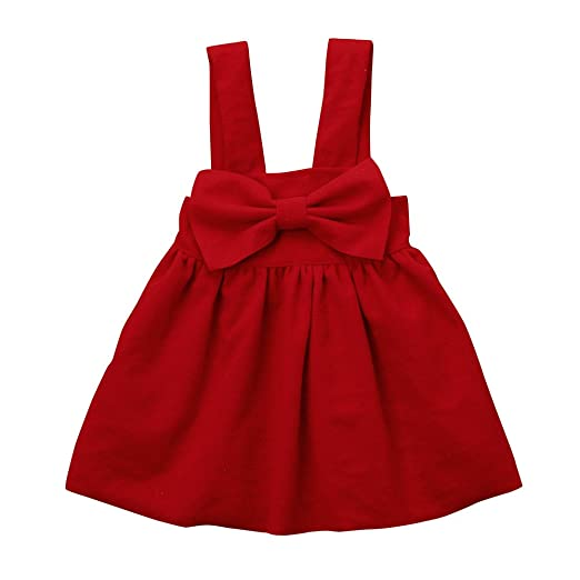 b6fef1dd571b Birdfly Little Girls Cute Bowknot Pinafore Dress Toddler Kids Fall Winter  Playwear Holiday Outfits (Red